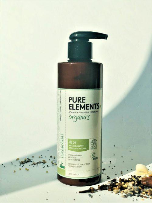 Pure Elements Organics plaukus tiesinantis ALAVIJŲ losjonas ALOE Smoothing Nectar
