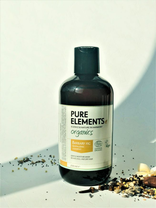 Pure Elements Organics plaukus atgaivinantis FIGAVAISĖS OPUNCIJOS šampūnas BARBARY FIG Revitalising Shampoo
