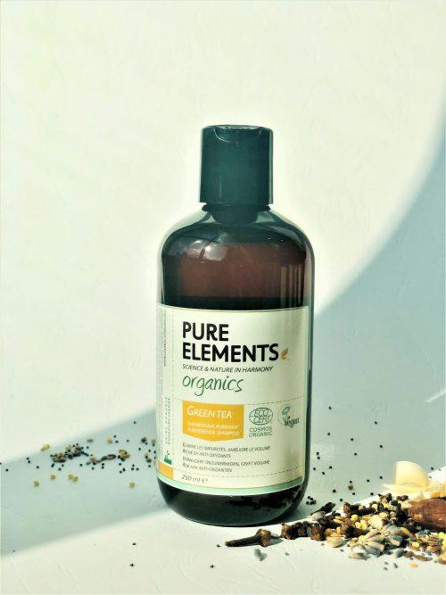 Pure Elements Organics GREEN TEA Purifying plaukus valantis ŽALIOSIOS ARBATOS šampūnas