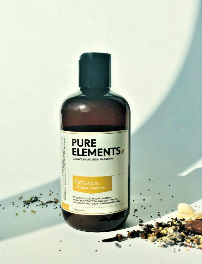 Pure Elements Patchouli Softening Shampoo švelnumo plaukams suteikiantis tikrojo pačiulio šampūnas