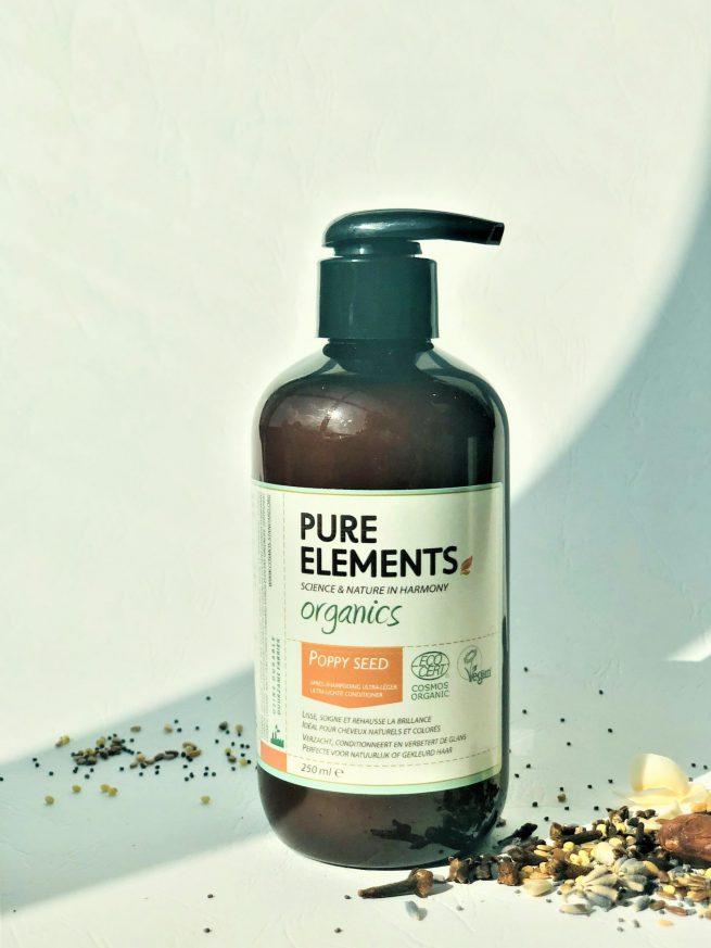 Plaukų iššukavimą palengvinantis drėkinamasis AGUONŲ kremas Pure Elements Organics POPPY SEED Detangling Cream