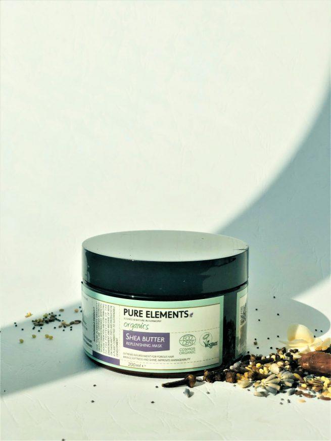 Pure Elements SHEA BUTTER plaukus maitinanti SVIESTMEDŽIO kaukė